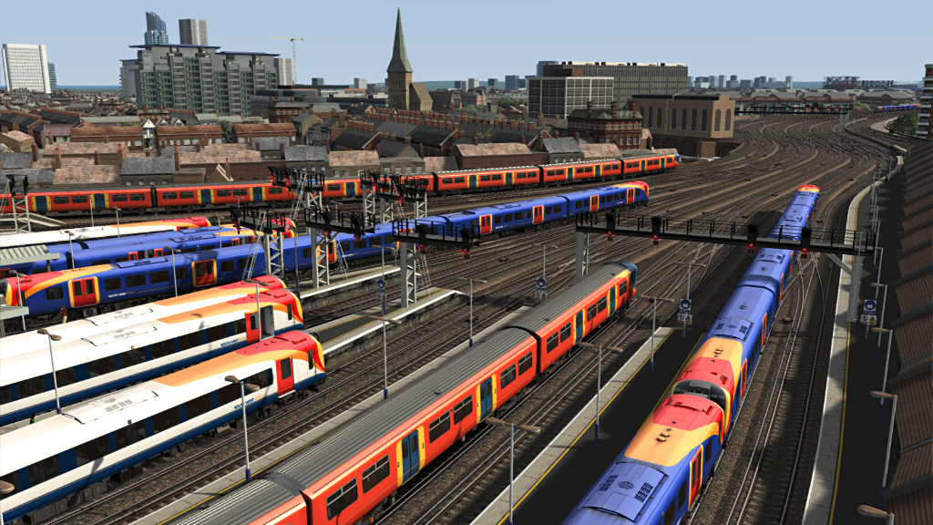 Image showing screenshot of a range of EMU trains as seen in the Armstrong Powerhouse Class 444 & 450 Enhancement Pack