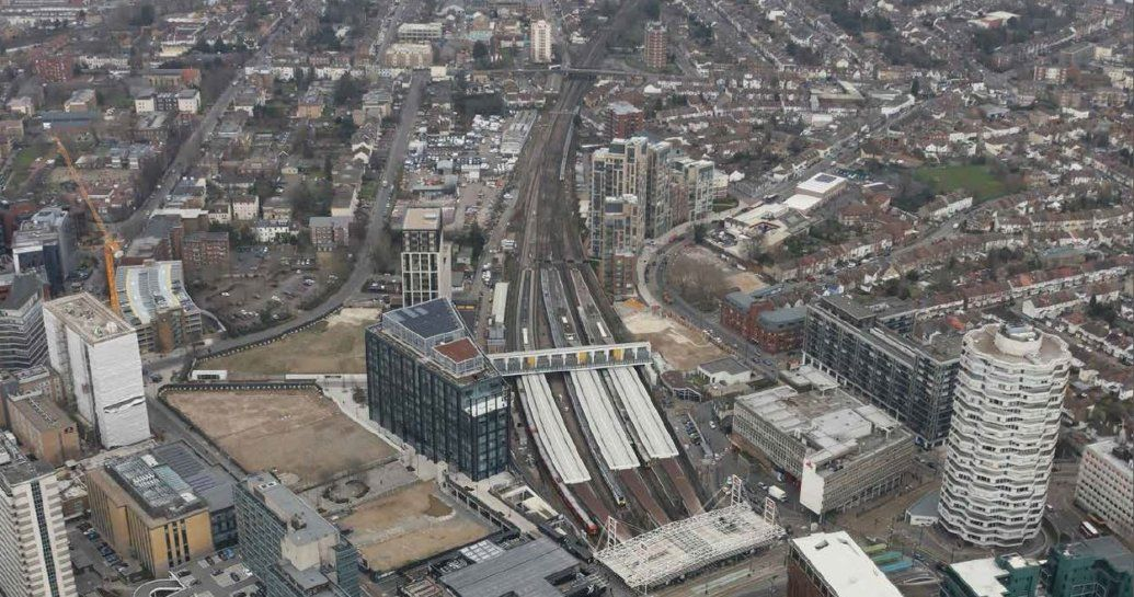 Image showing aerial view of East Croydon railway station