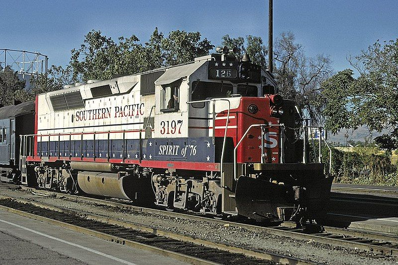 Image showing Southern Pacific GP40P-2 #3197 arriving in San Jose with Peninsula Commute train #126 in March 1985