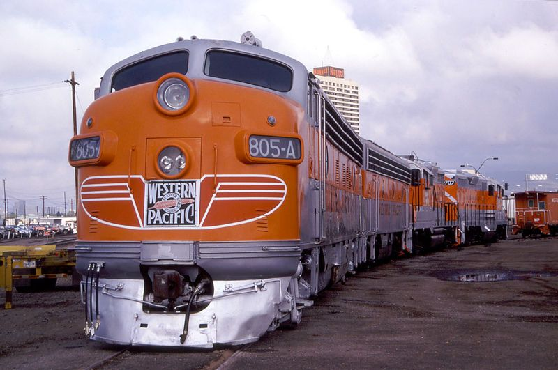 Image showing EMD FP7 locomotive in Western Pacific livery