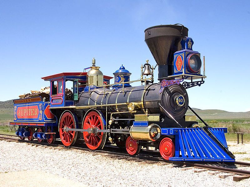Image showing a recreated CP # 60 steam locomotive at the Golden Spike National Historic Site in Utah