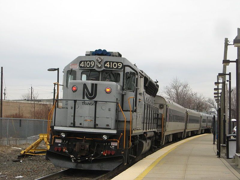 Image showing NJ Transit #4109 pushing Train 1628 out of the Essex Street Station en route to Hoboken