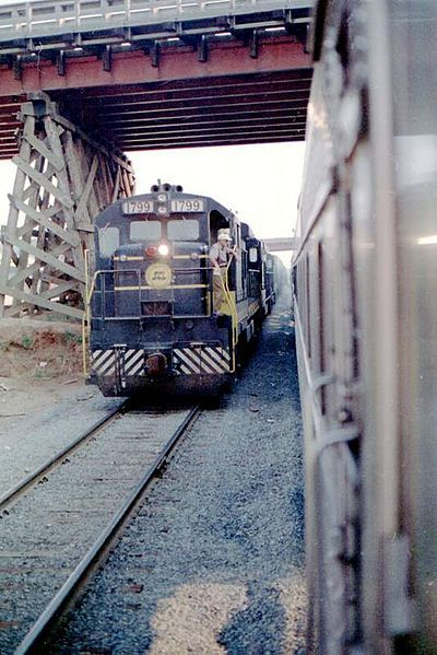Image showing a GE U36B locomotive in Southeastern US, ca. 1973