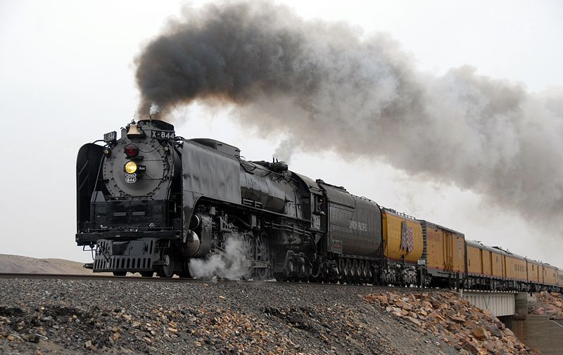 Image showing Union Pacific 844 at Painted Rocks, Nevada, on a run from Elko to Sparks, Nevada, April 15, 2009