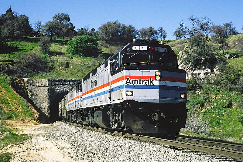 Image showing Amtrak #315 exiting tunnel #17 west of Newcastle with train #6 the California Zephyr