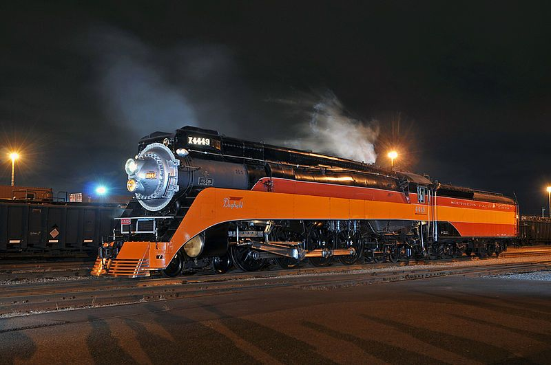 Image showing a GS-4 locomotive on a night photo shoot on June 23, 2011