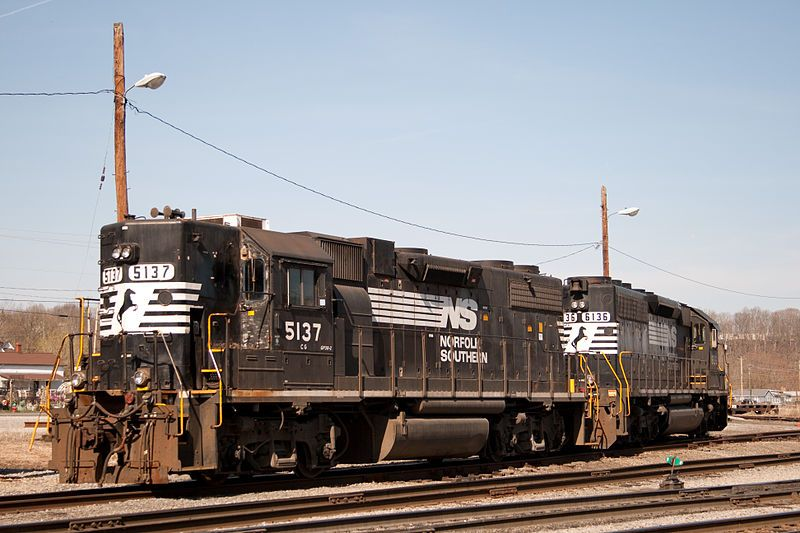 Image showing NS 5137 (a high short hood GP38-2) and NS 6136 (a SD40-2) idle while waiting for their next assignment in Radford, VA