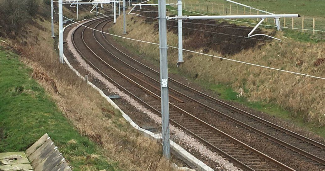 Image showing new electrification on the Shotts line