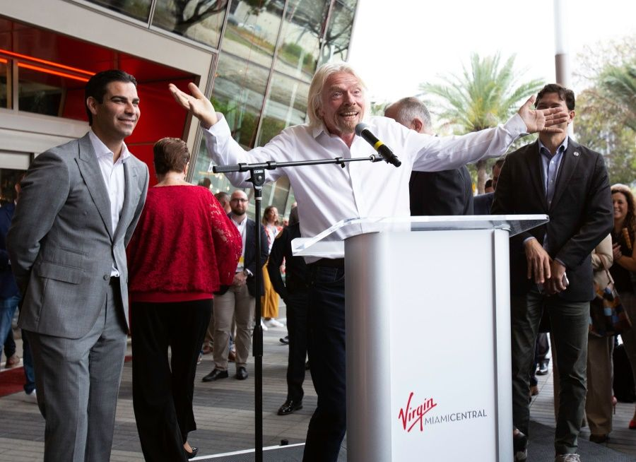 Image showing Sir Richard Branson outside Virgin MiamiCentral