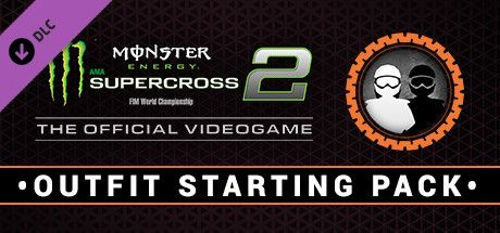 Clickable image taking you to the Steam store page for the Outfit starting pack DLC for Monster Energy Supercross - The Official Videogame 2