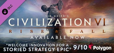 Clickable image taking you to the Indiegala store page for the Rise and Fall DLC for Sid Meier's Civilization® VI