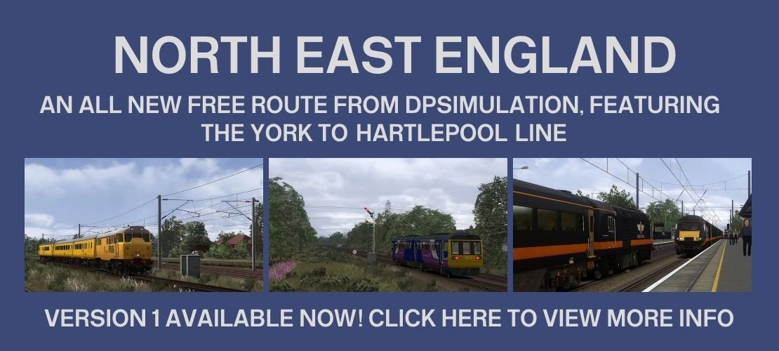 Clickable image taking you to the North East England route page at DPSimulation