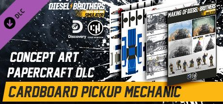 Clickable image taking you to the Steam store page for the Cardboard Pickup Mechanic (Papercraft) DLC for Diesel Brothers: Truck Building Simulator