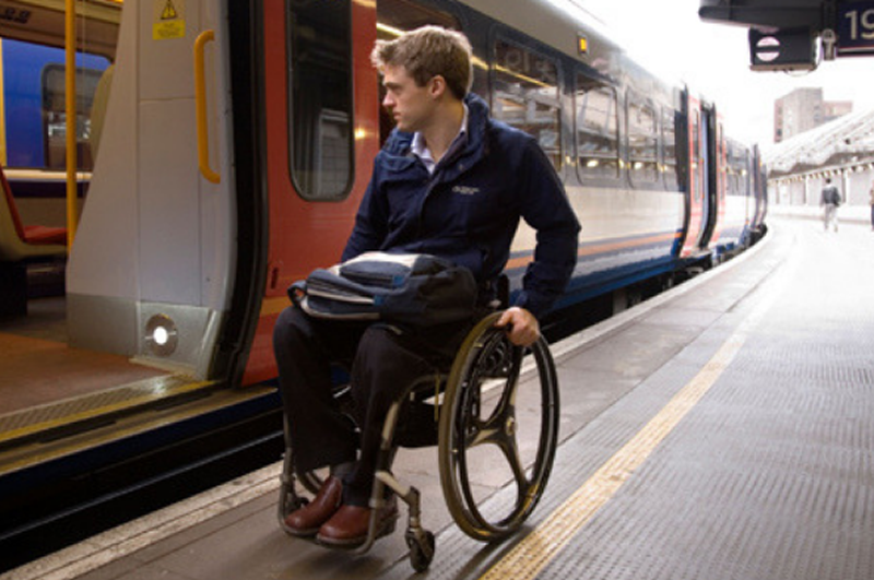 Image showing disabled passenger on station platform