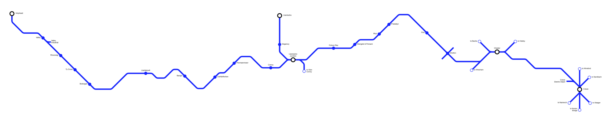 Image showing a map of the North Wales Coastal Route Extension route