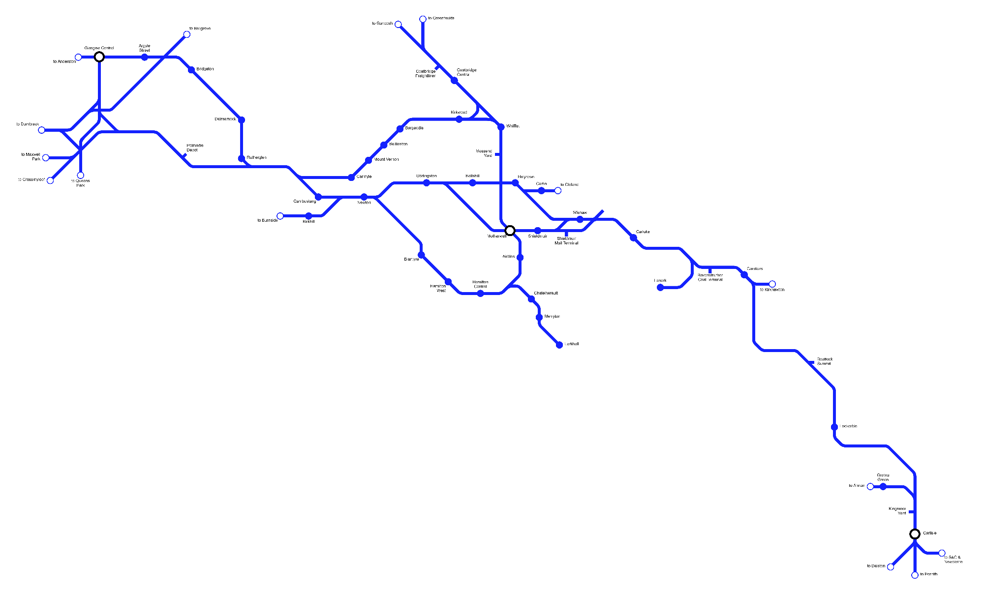 Image showing a map of the West Coast Main Line North route