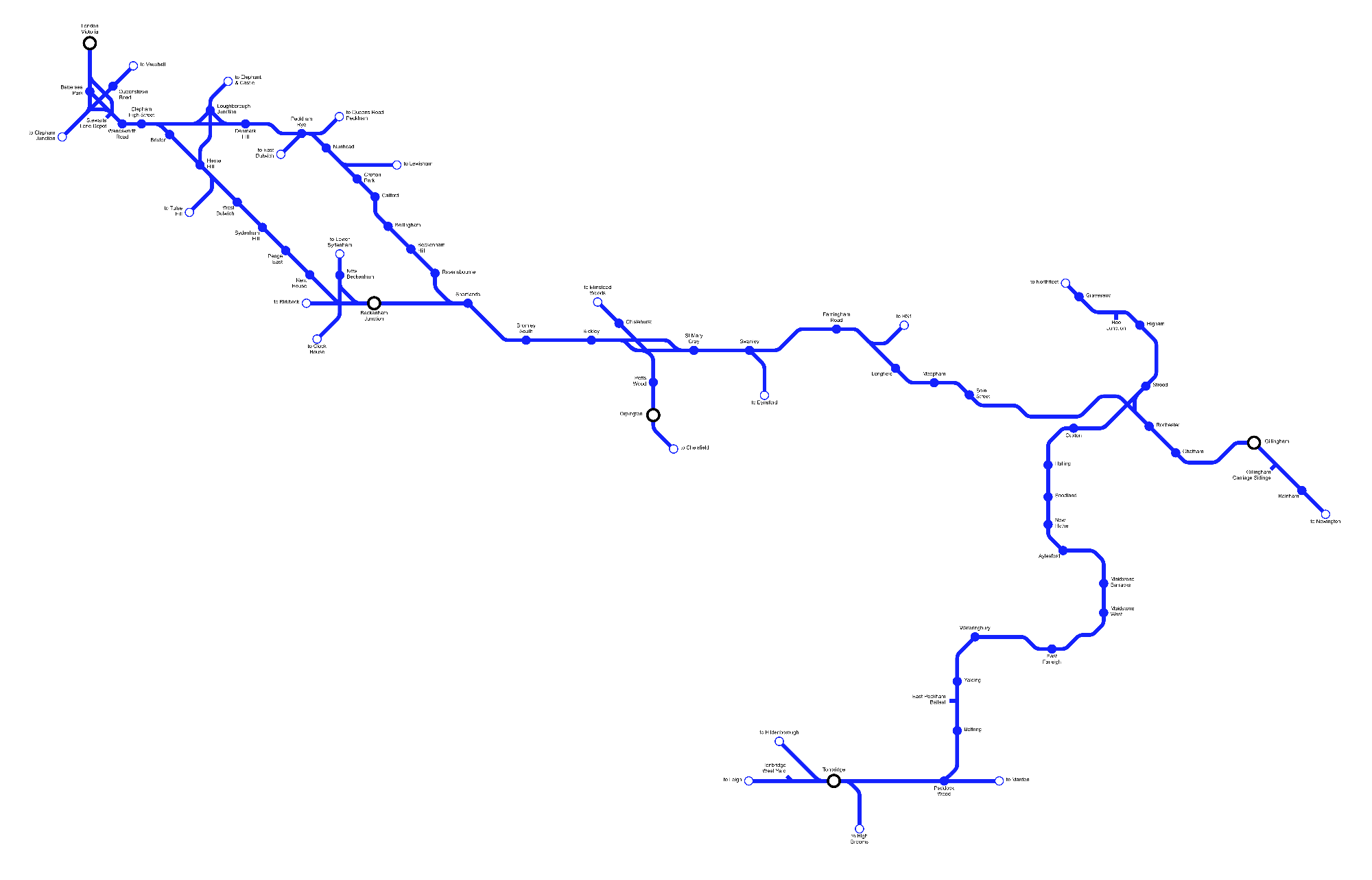 Image showing a map of the Chatham Main & Medway Valley Lines route
