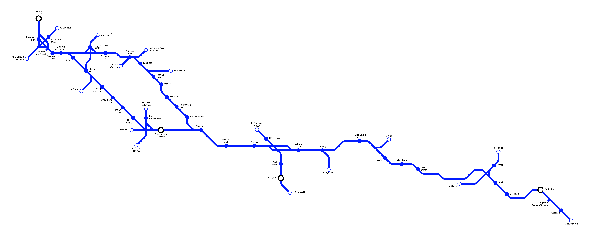 Image showing a map of the Chatham Main Line - London-Gillingham route