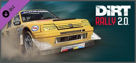 Clickable image taking you to the Steam store page for the Peugeot 205 T16 Rallycross DLC for Dirt Rally 2.0