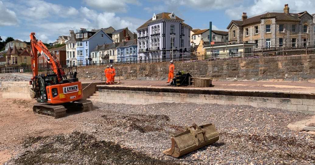 Image showing work underway on the new Dawlich sea wall