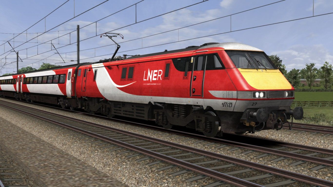 Image showing screenshot of a Class 91 locomotive in LNER livery as available from the Alan Thomson Sim website.