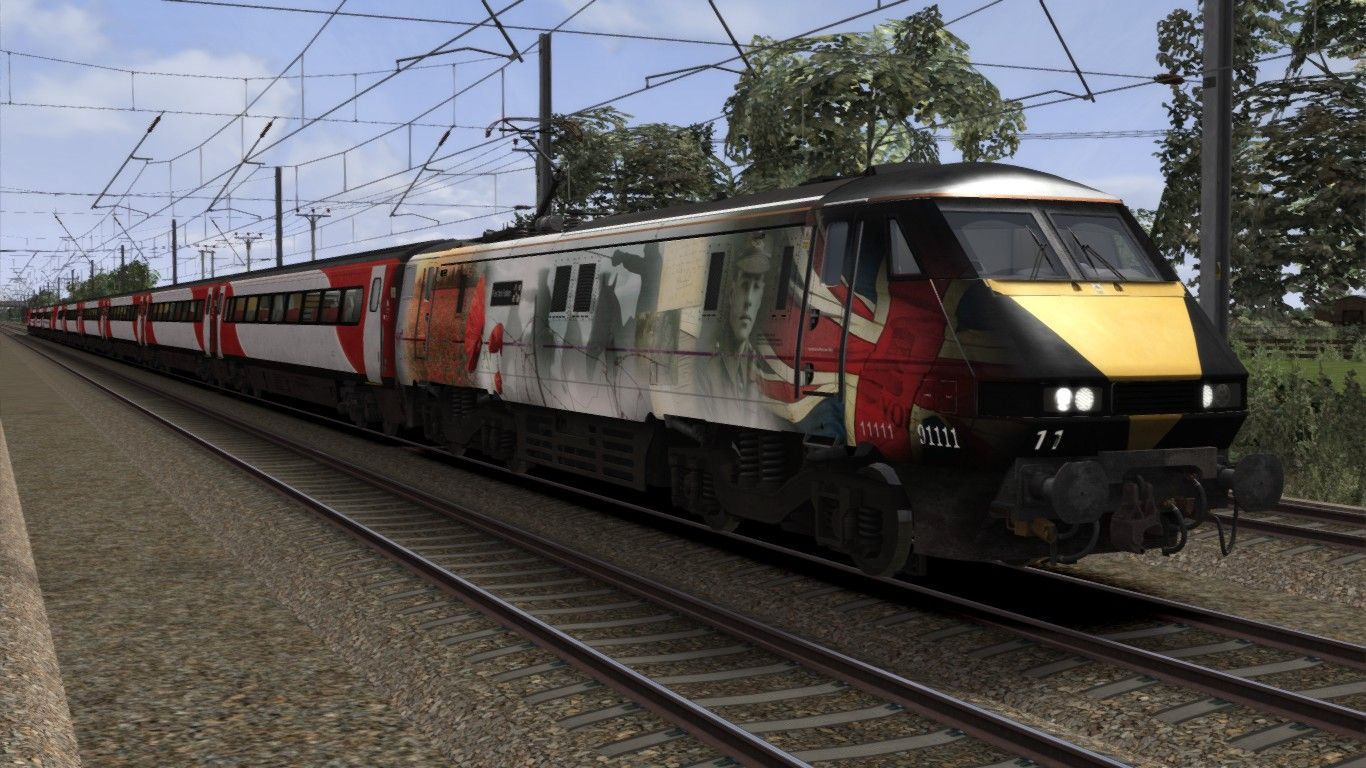 Image showing screenshot of a 91111, a Class 91 locomotive in 'For the Fallen' livery as available from the Alan Thomson Sim website.