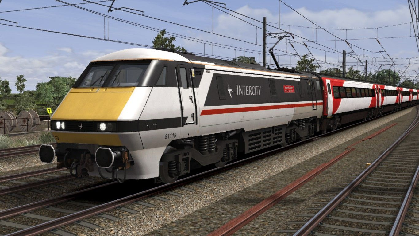 Image showing screenshot of a 91119, a Class 91 locomotive in 'Intercity livery as available from the Alan Thomson Sim website.