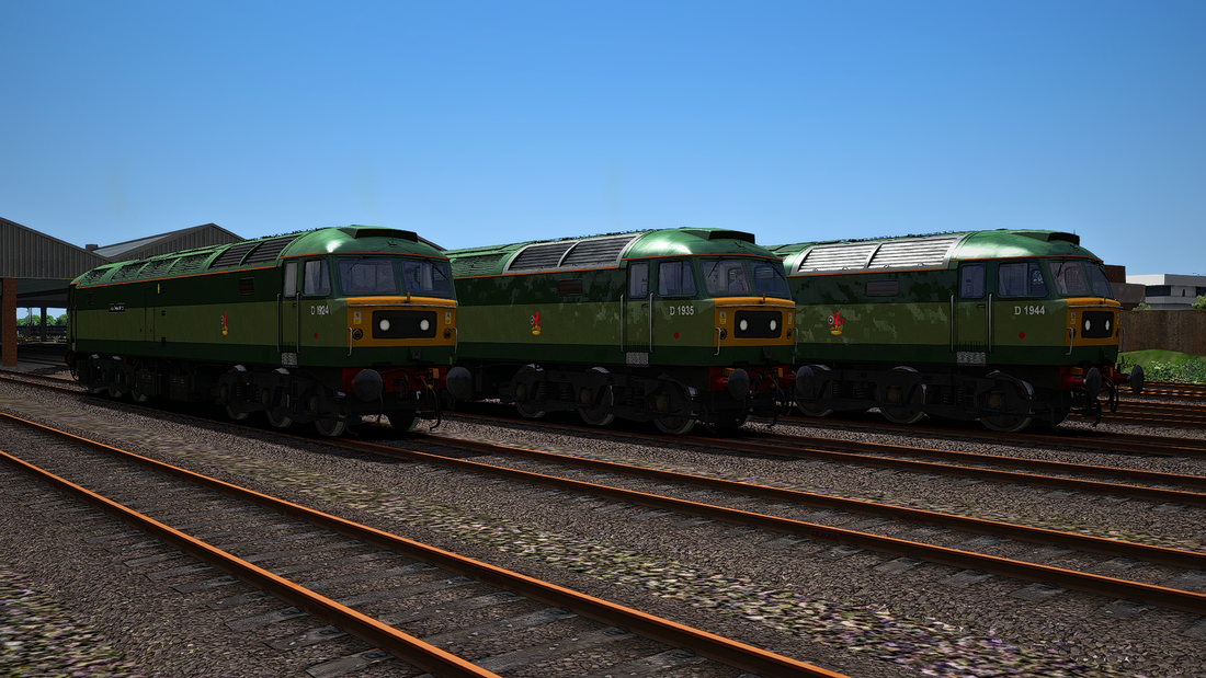 Image showing screenshot of repainted Class 47 locomotive from Backdated Trainsim.