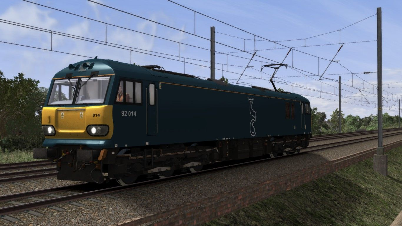 Image showing screenshot of a Class 92 locomotive in Caledonian Sleeper livery as available from the Alan Thomson Sim website.