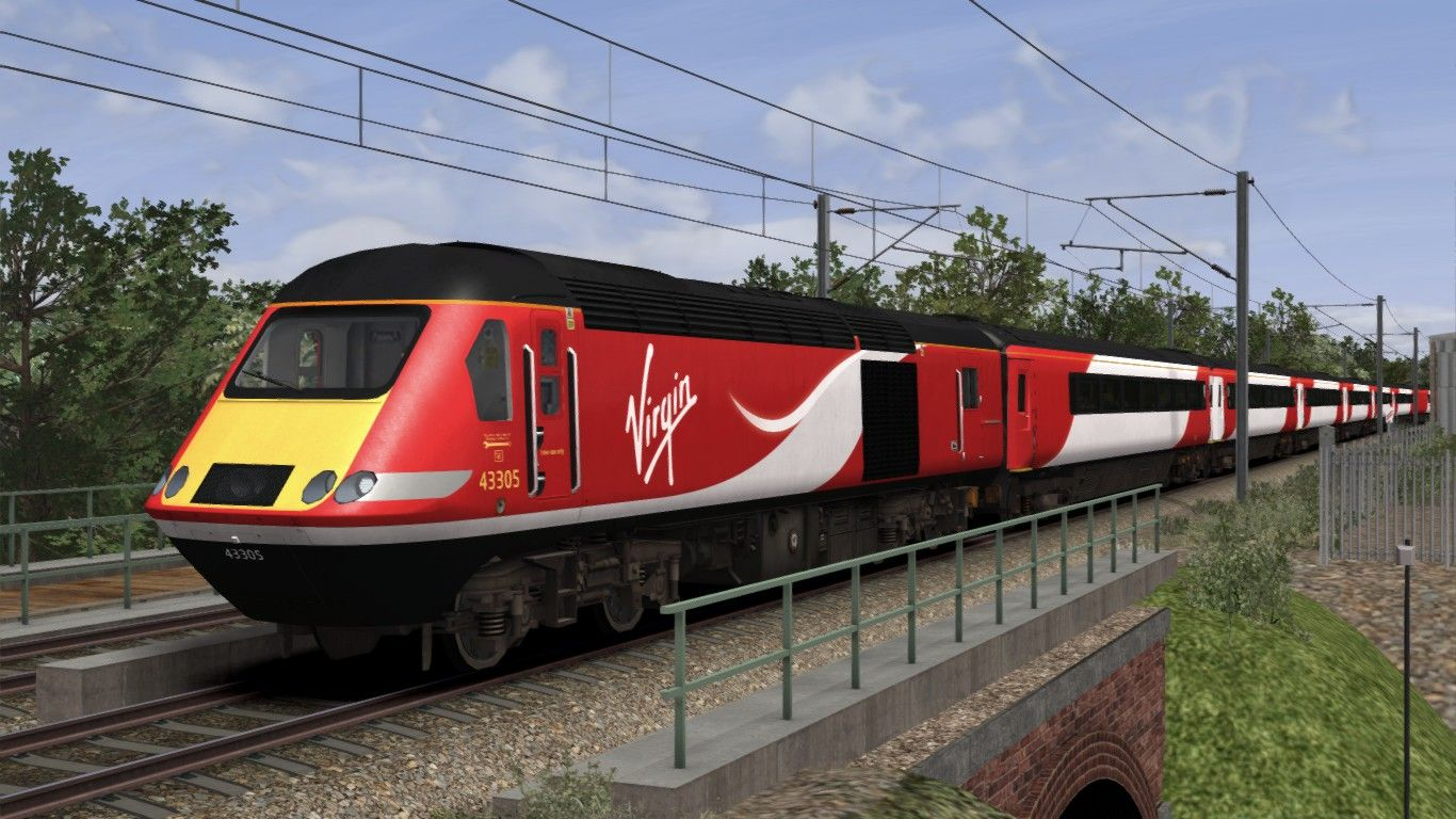 Image showing screenshot of the High Speed Train (HST) in Virgin Trains East Coast (VTEC) livery as available from the Alan Thomson Sim website.