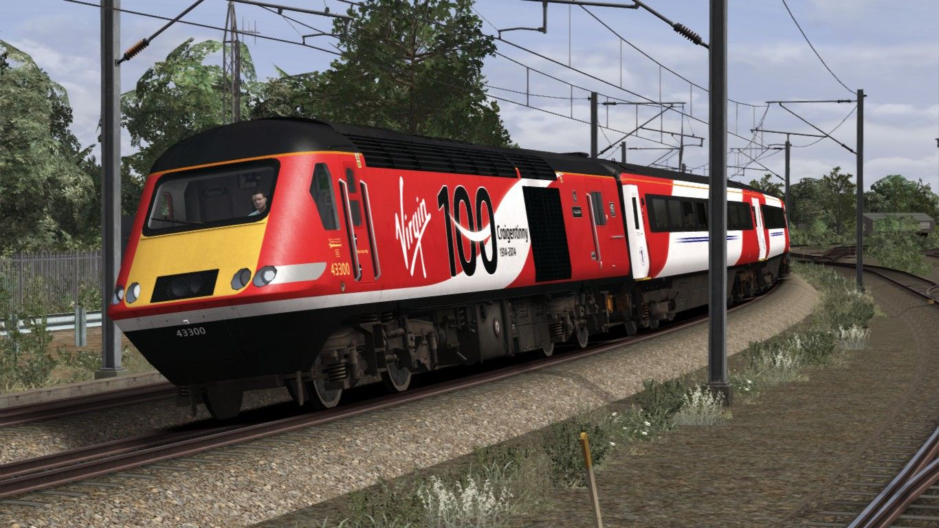 Image showing screenshot of the High Speed Train (HST) in a variation of Virgin Trains East Coast (VTEC) livery as available from the Alan Thomson Sim website.