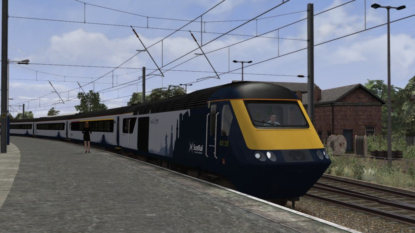 Image showing screenshot of the High Speed Train (HST) in ScotRail 7 Cities livery as available from the Alan Thomson Sim website.