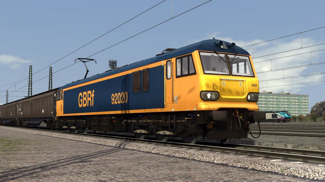 Image showing screenshot of a Class 92 locomotive in GBRf livery as available from the Vulcan Productions website.