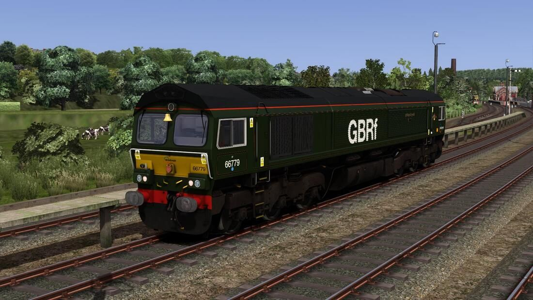 Image showing screenshot of the Class 66 locomotive in GBRf 'Evening Star' livery as available from the Vulcan Productions website.
