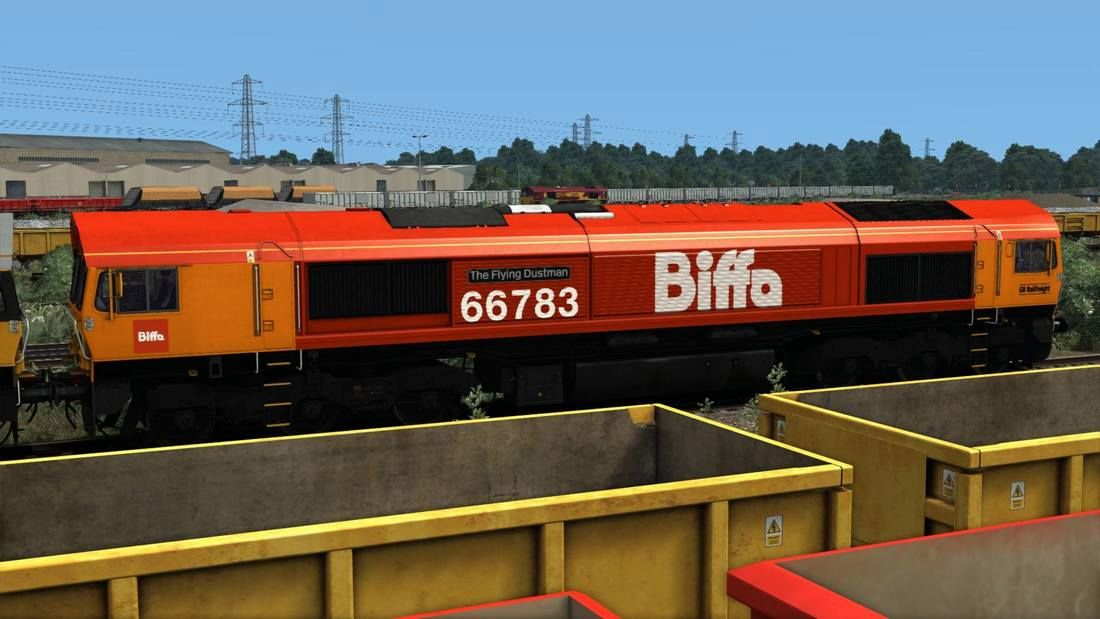 Image showing screenshot of the Class 66 locomotive in 'Biffa' promotional livery as available from the Vulcan Productions website.