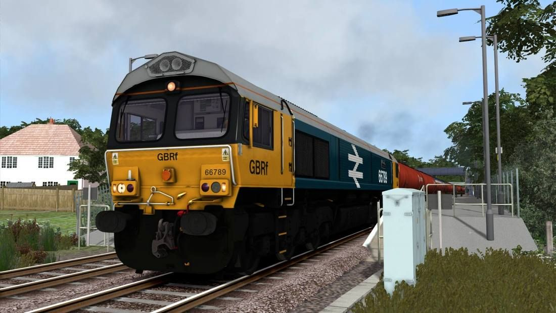 Image showing screenshot of the Class 66 locomotive in BR Large Logo livery as available from the Vulcan Productions website.
