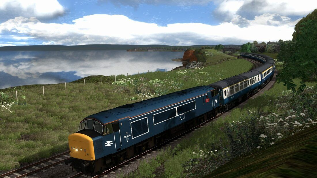 Image showing screenshot of the Class 45 locomotive in Tinsley Modified BR Blue livery as available from the Vulcan Productions website.