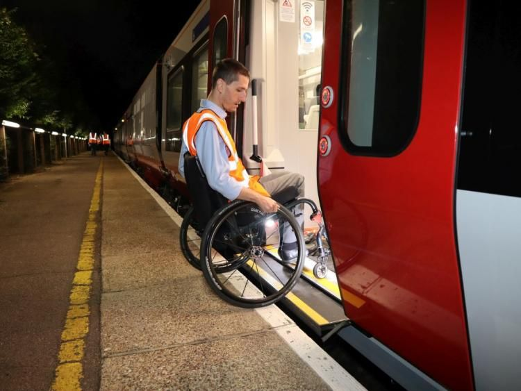 Image showing Dominic Lund-Conlon demonstrating the accessibility of the new Greater Anglia trains