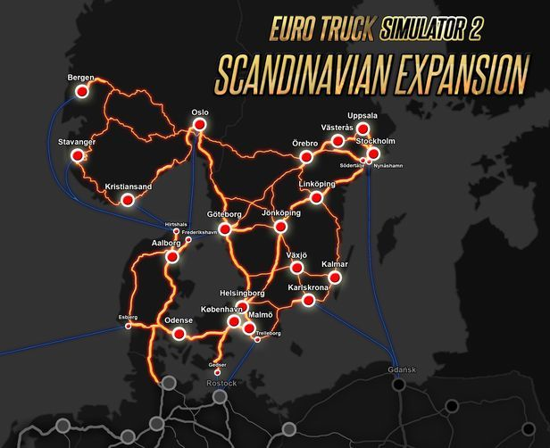 Image showing the map for Euro Truck Simulator 2 Scandinavia