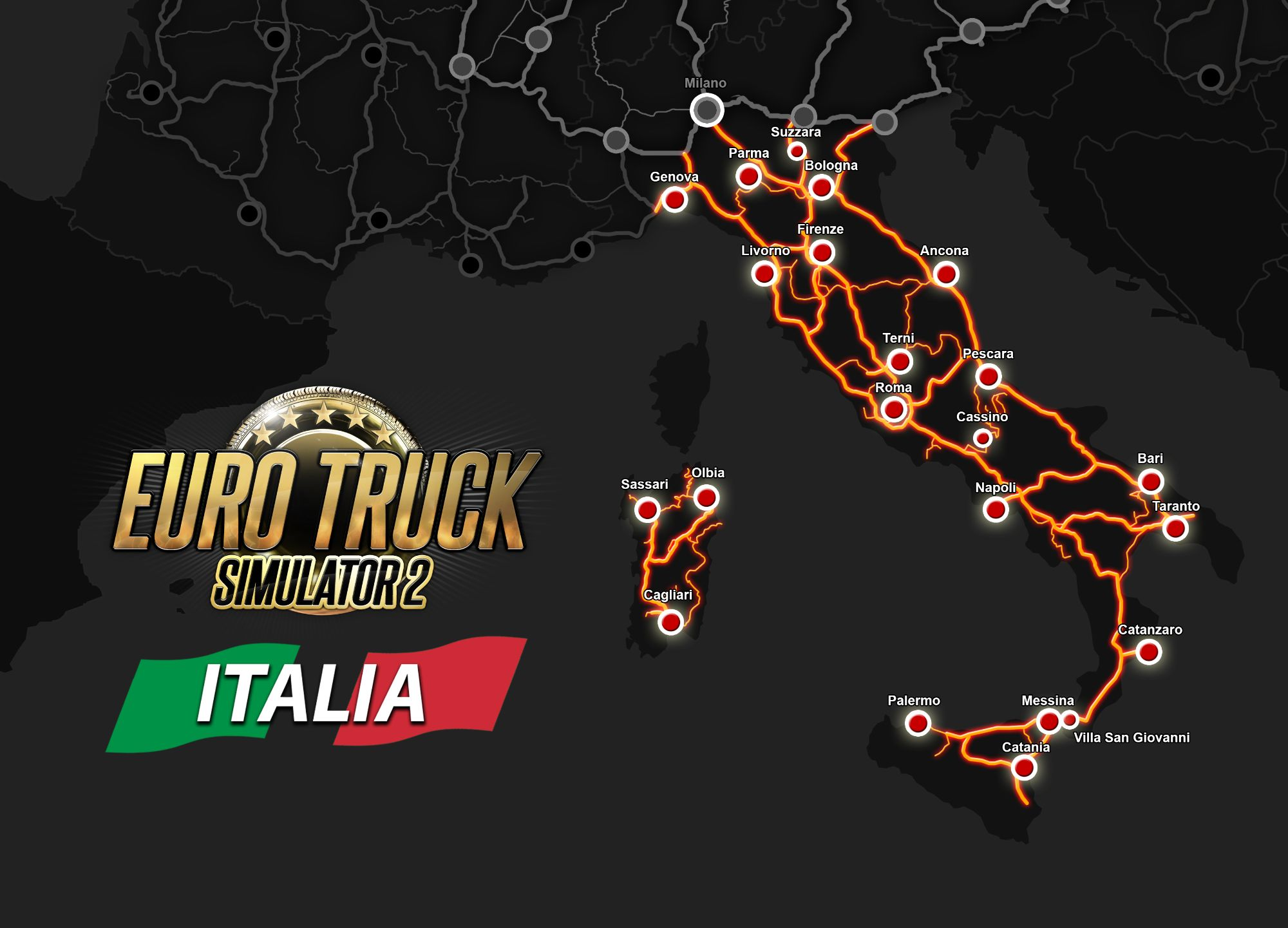 Image showing the map for Euro Truck Simulator 2 Italia