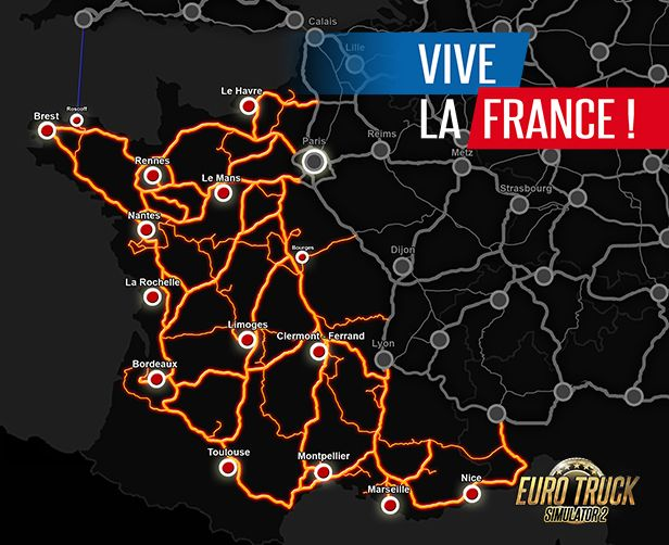 Image showing the map for Euro Truck Simulator 2 Vive la France!