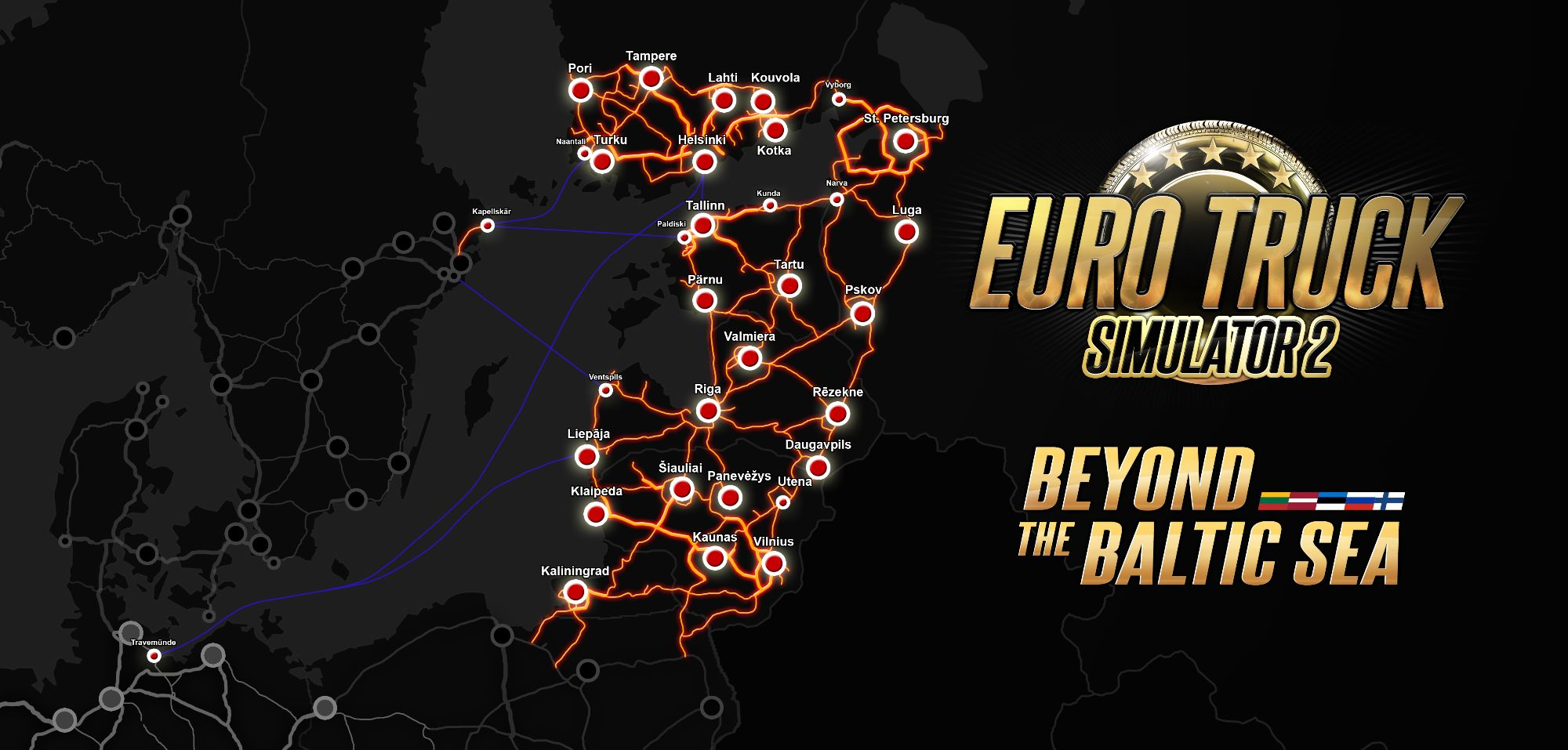 Image showing the map for Euro Truck Simulator 2 Beyond the Baltic Sea