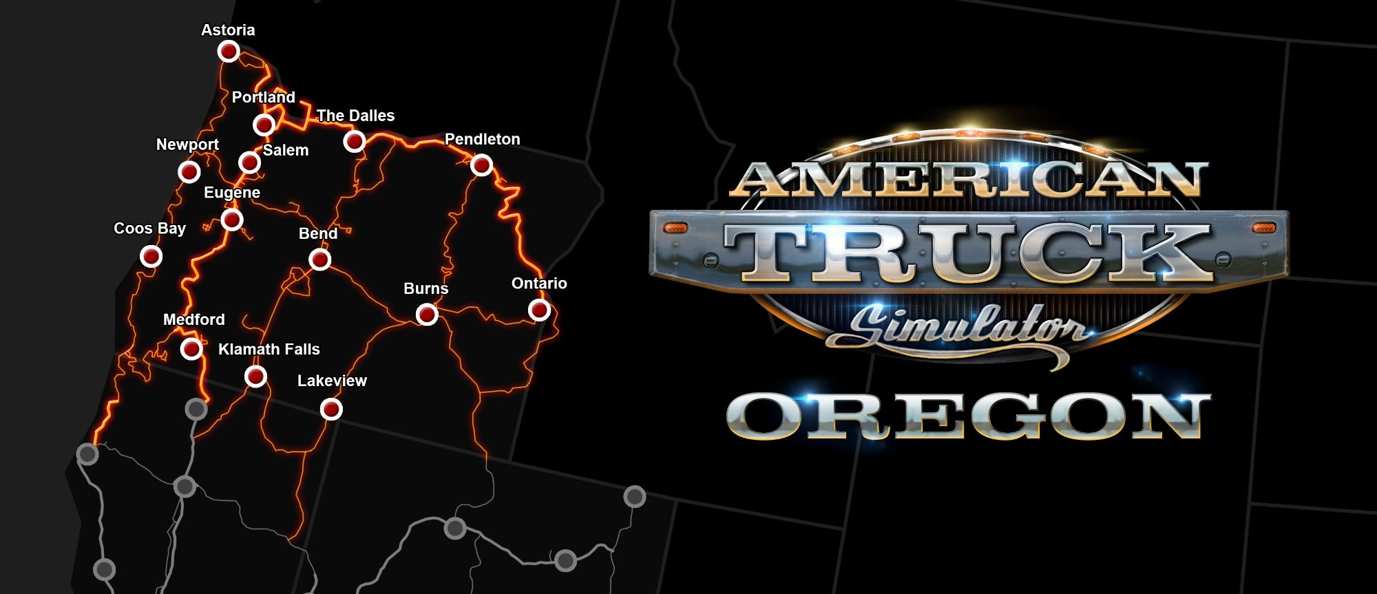 Image showing the map for American Truck Simulator Oregon