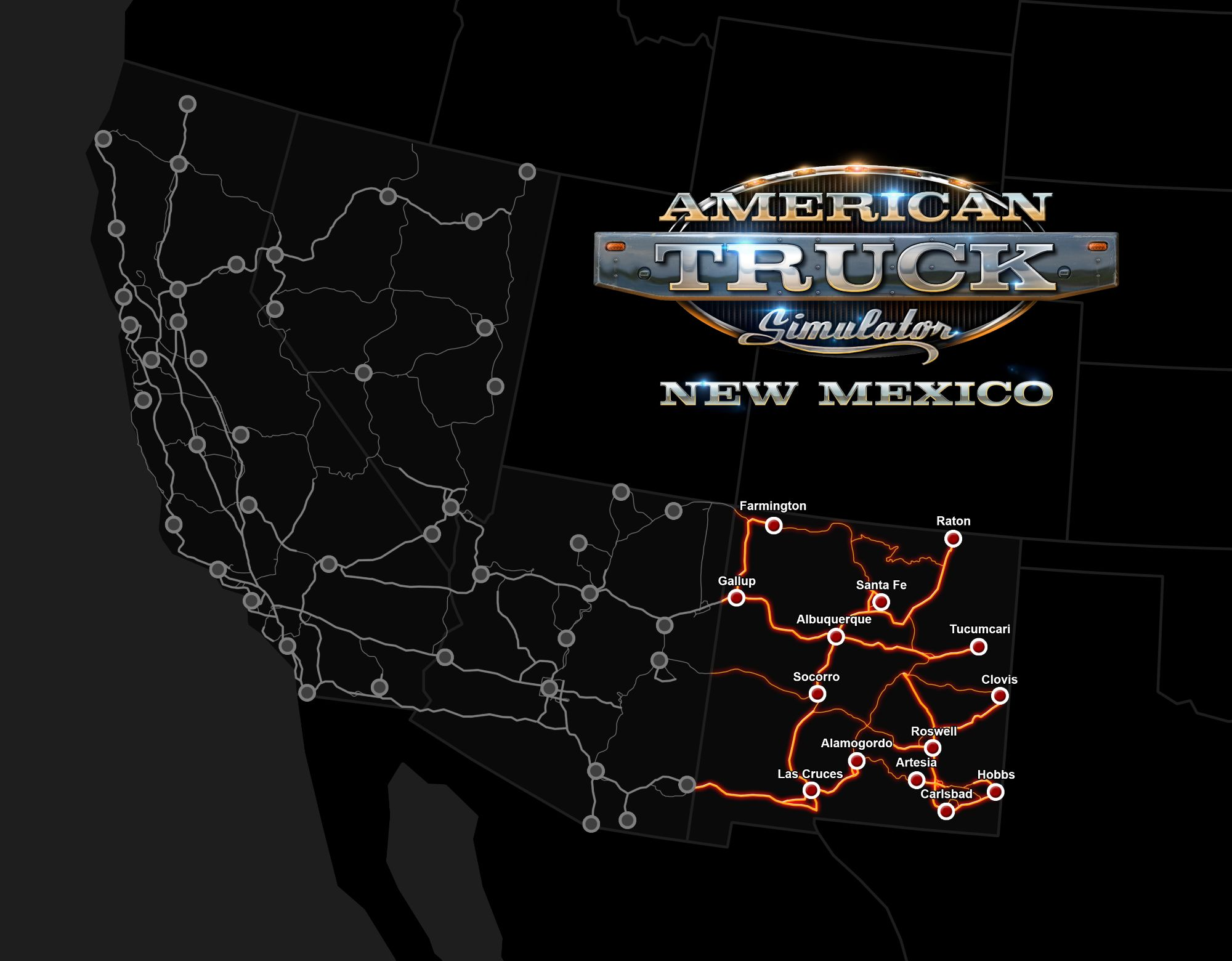 Image showing the map for American Truck Simulator New Mexico