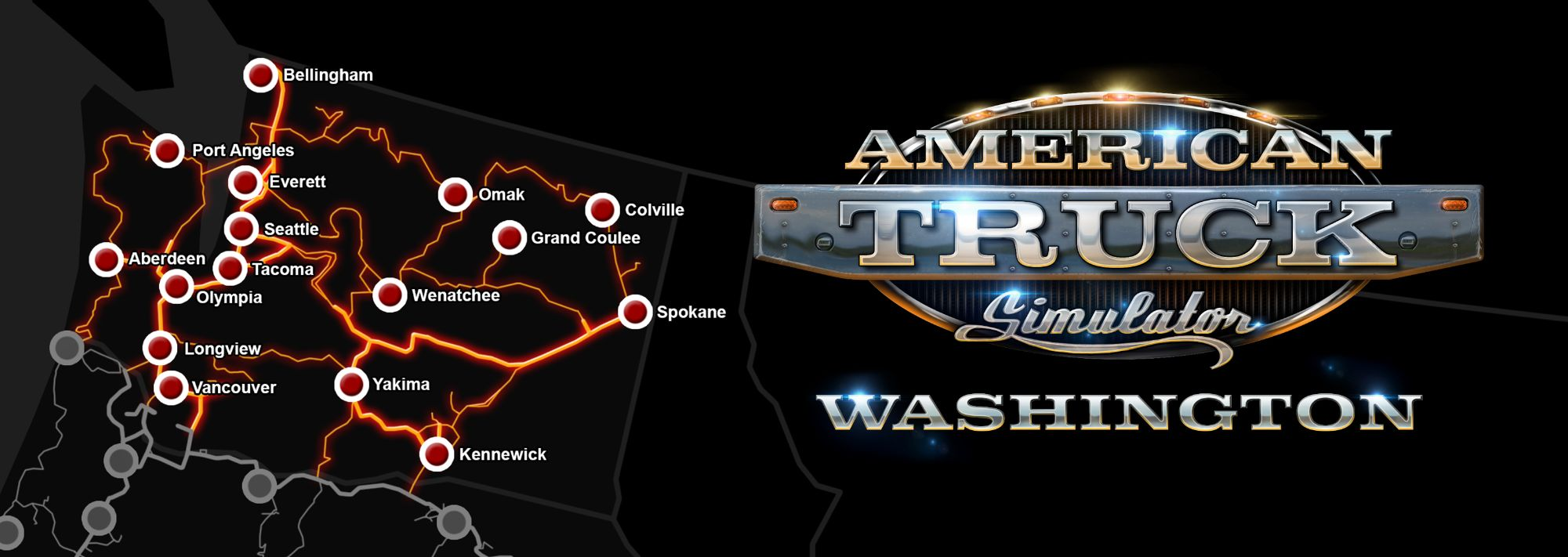 Image showing the map for American Truck Simulator Washington