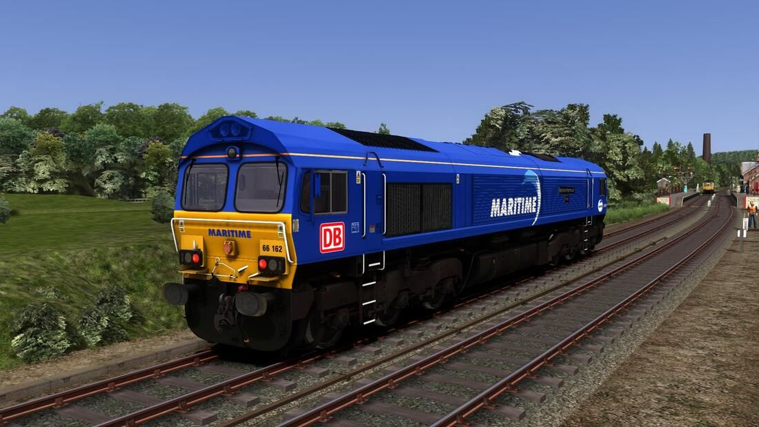 Image showing screenshot of the Class 66 locomotive in Maritime livery as available from the Vulcan Productions website.