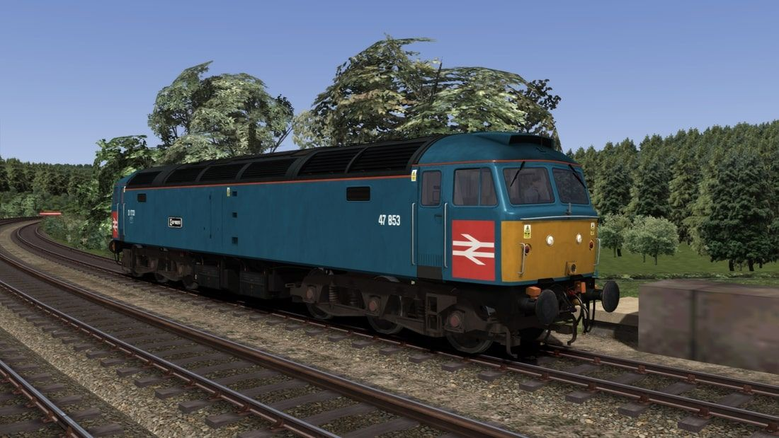 Image showing screenshot of repainted Class 47 locomotive from Vulcan Productions