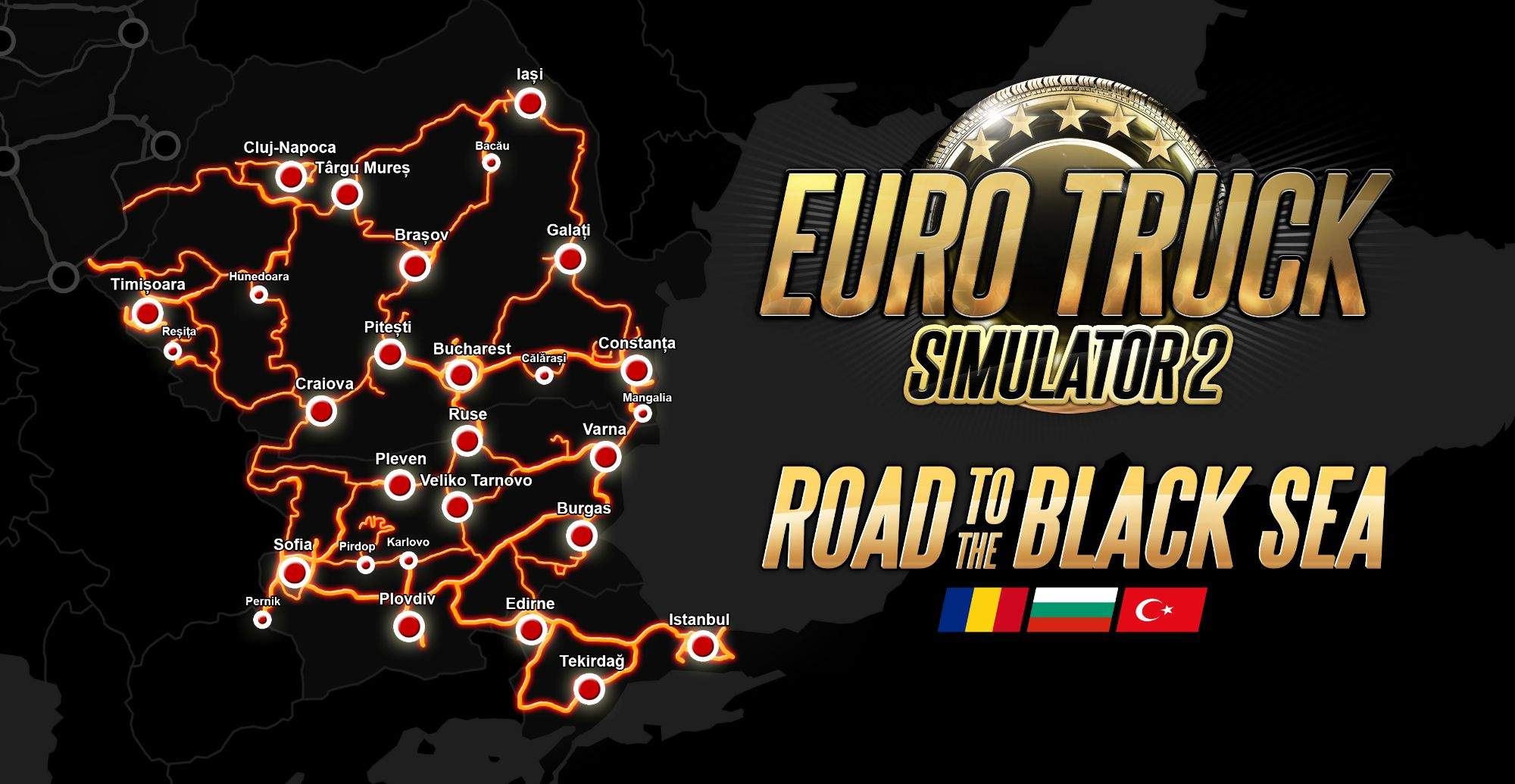 Clickable image showing the map for Euro Truck Simulator 2: Road to the Black Sea