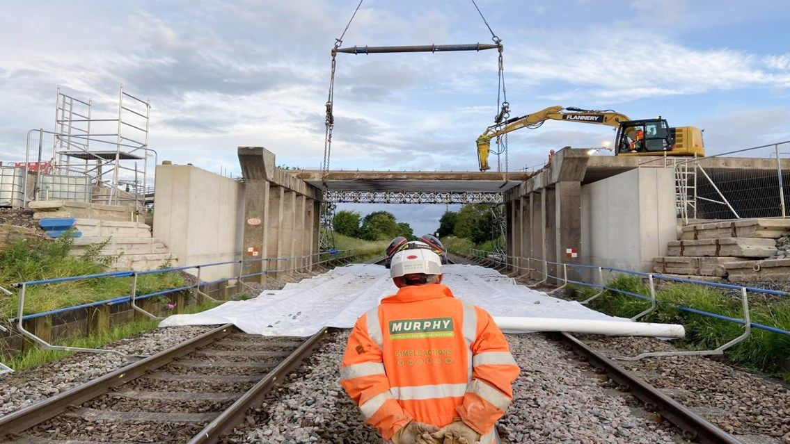 Image showing bridge works on the Crewe to Chester line