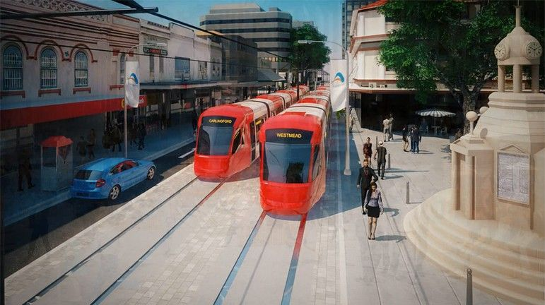 Image showing artists impression of the Parramatta Light Rail project
